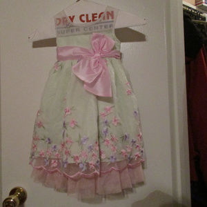 Jona Michelle girls 2T green & pink floral dress